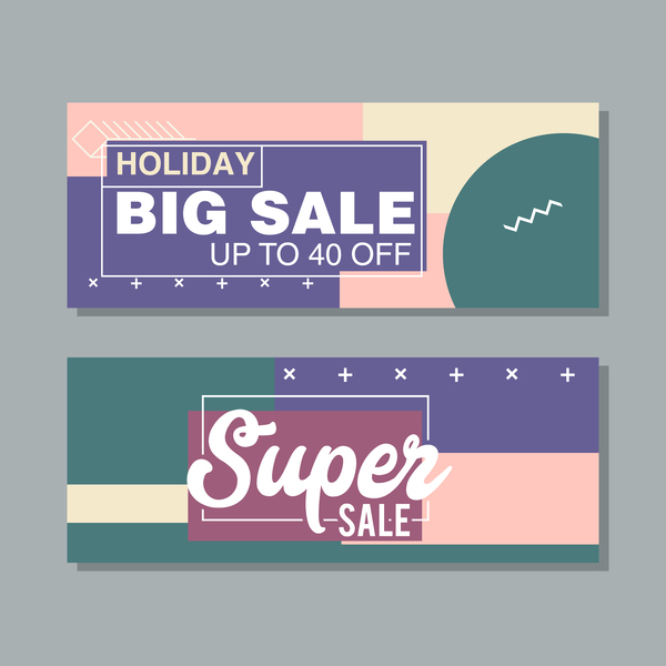 Big sale banner template vectors 11