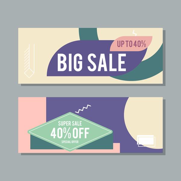 Big sale banner template vectors 12