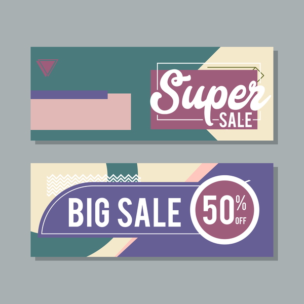 Big sale banner template vectors 13