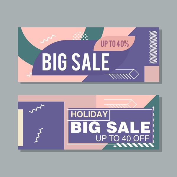 Big sale banner template vectors 15