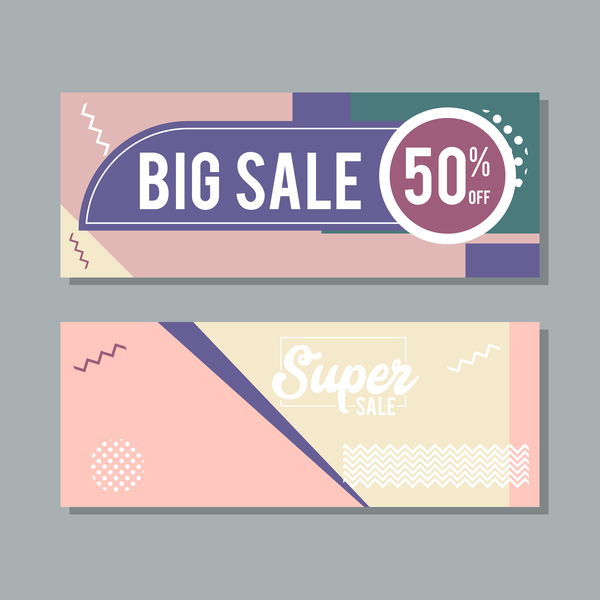 Big sale banner template vectors 16