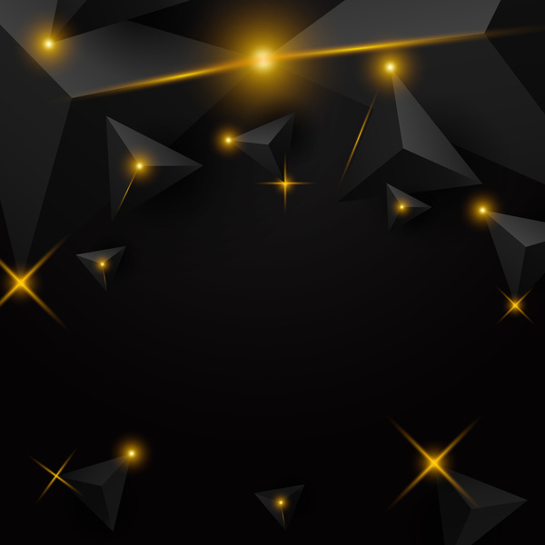 Black triangle background with star light vector 01
