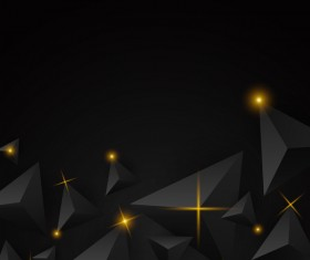 Black triangle background with star light vector 02