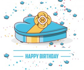 Blue birthday gift box vectors material