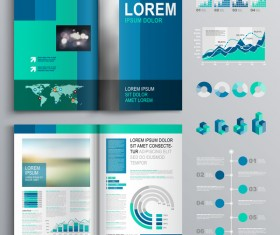 Blue brochure cover with infographic vector material 01