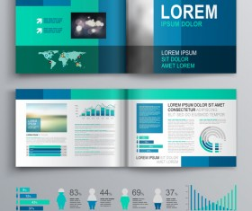 Blue brochure cover with infographic vector material 04