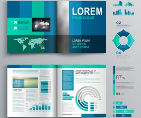 Blue brochure cover with infographic vector material 05