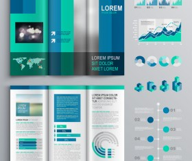 Blue brochure cover with infographic vector material 06