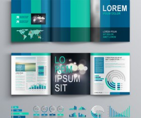Blue brochure cover with infographic vector material 07