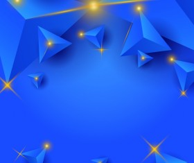 Blue triangle background with star light vector 01