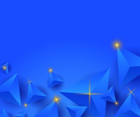 Blue triangle background with star light vector 02