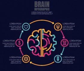 Brain infographic template vector 03