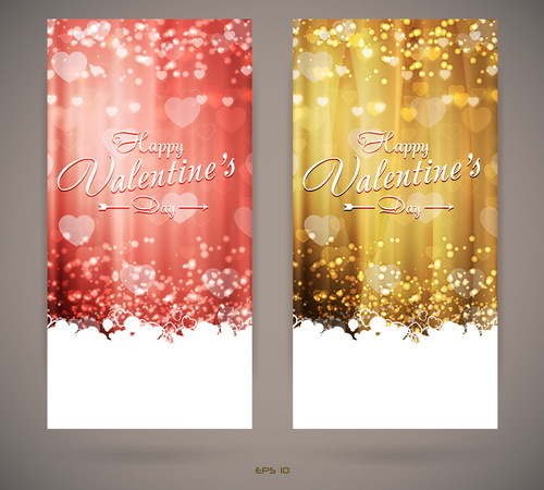 Bright Valentines day invitation cards vector