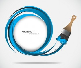 Brush with blue abstract background vector