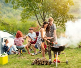 Camping Grill Lovers Stock Photo