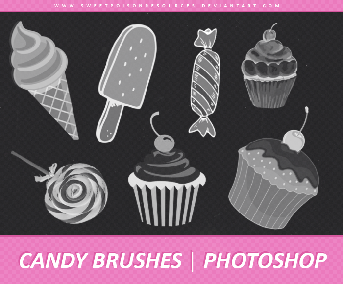 Candy with cup cake Photoshop Brushes