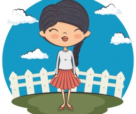 Cartoon girls with white cloud vector