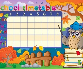 Cartoon school timetable composition vector template 01