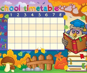 Cartoon school timetable composition vector template 02