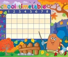 Cartoon school timetable composition vector template 03