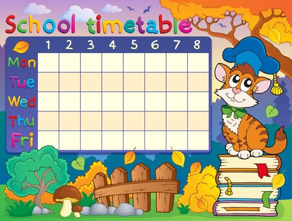 Cartoon school timetable composition vector template 04