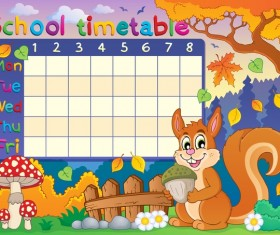Cartoon school timetable composition vector template 05