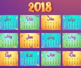 Cartoon styles 2018 calendar template vector