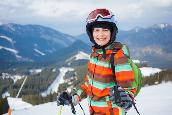 Children having fun in ski resort Stock Photo 02