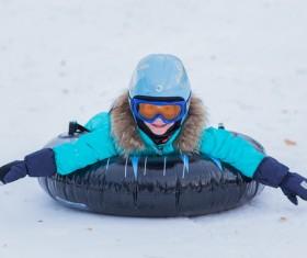 Children having fun in ski resort Stock Photo 03