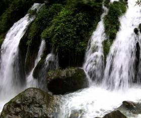 China Sichuan Huanglong Waterfall Landscape Stock Photo