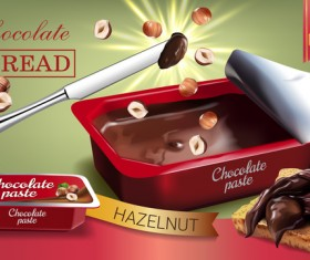 Chocolate paste poster vector template 02