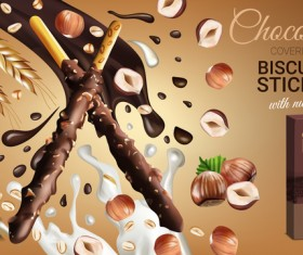 Chocolate sweet food ads poster template vector 06