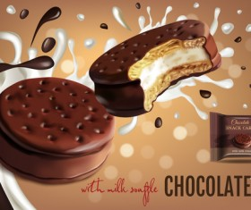 Chocolate sweet food ads poster template vector 08