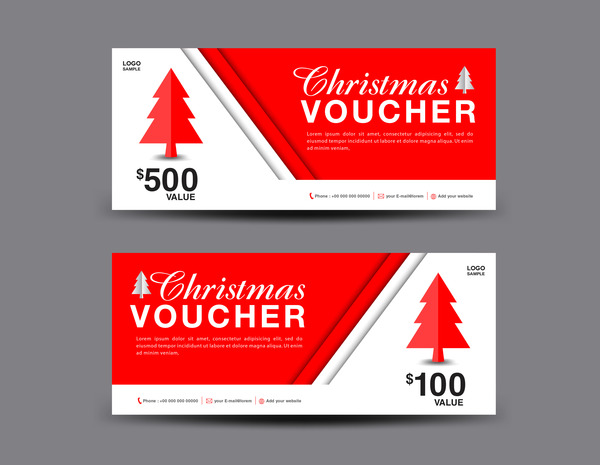 Christmas Voucher coupon card template vector 01