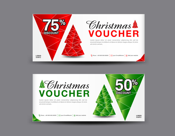 Christmas Voucher coupon card template vector 02