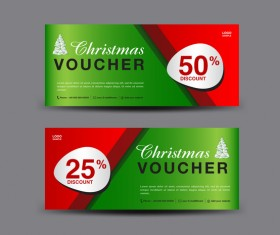 Christmas Voucher coupon card template vector 03