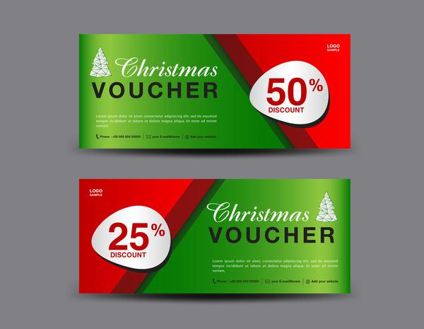 Christmas Voucher coupon card template vector 03