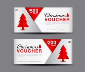 Christmas Voucher coupon card template vector 04