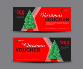 Christmas Voucher coupon card template vector 05