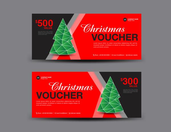 Christmas Voucher coupon card template vector 05