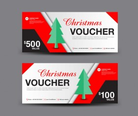 Christmas Voucher coupon card template vector 06