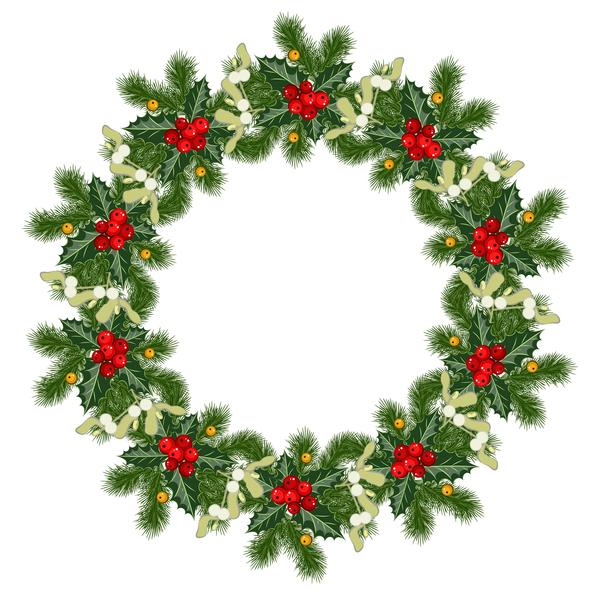 Christmas decor wreath illustration vector 01