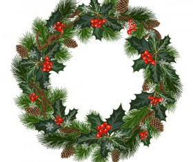 Christmas decor wreath illustration vector 03