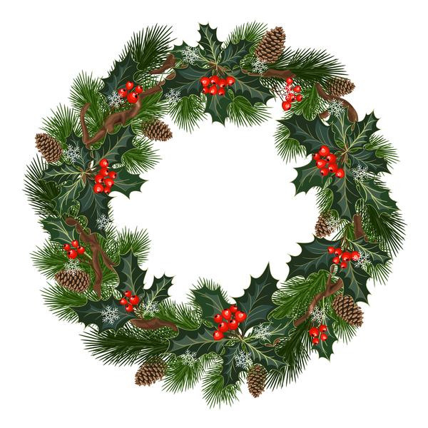 Christmas decor wreath illustration vector 03