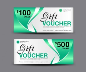 Christmas gift voucher card green vector material 01