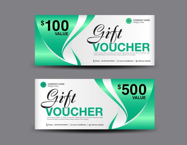 Christmas gift voucher card green vector material 01