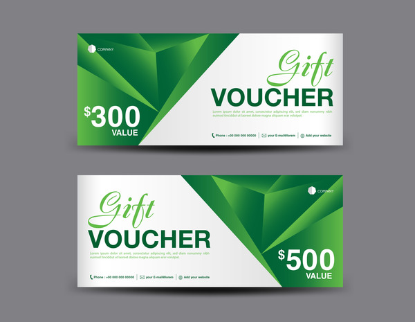 Christmas gift voucher card green vector material 02