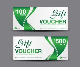 Christmas gift voucher card green vector material 03