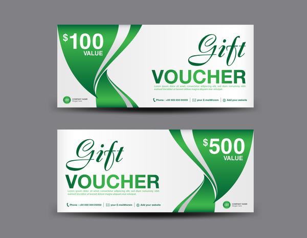 Christmas gift voucher card green vector material 03