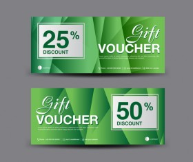 Christmas gift voucher card green vector material 04